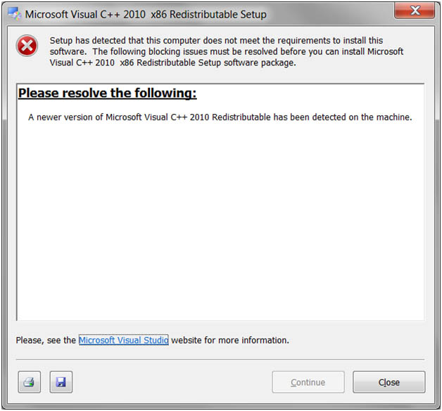 a newer version of microsoft visual c++ 2010 redistributable has been detected on the machine