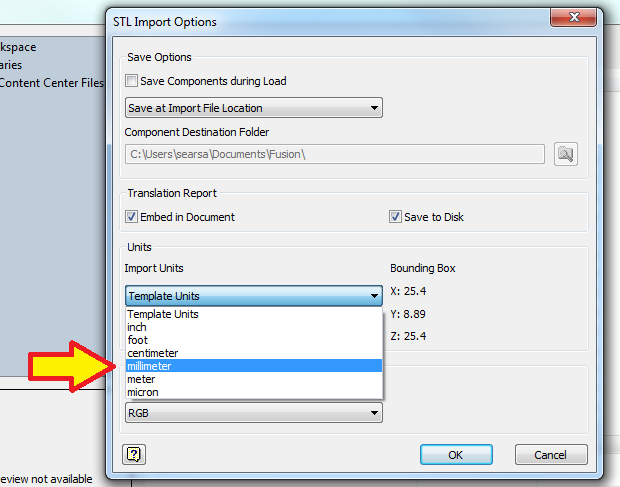 Stl Inventor Import Settings Png