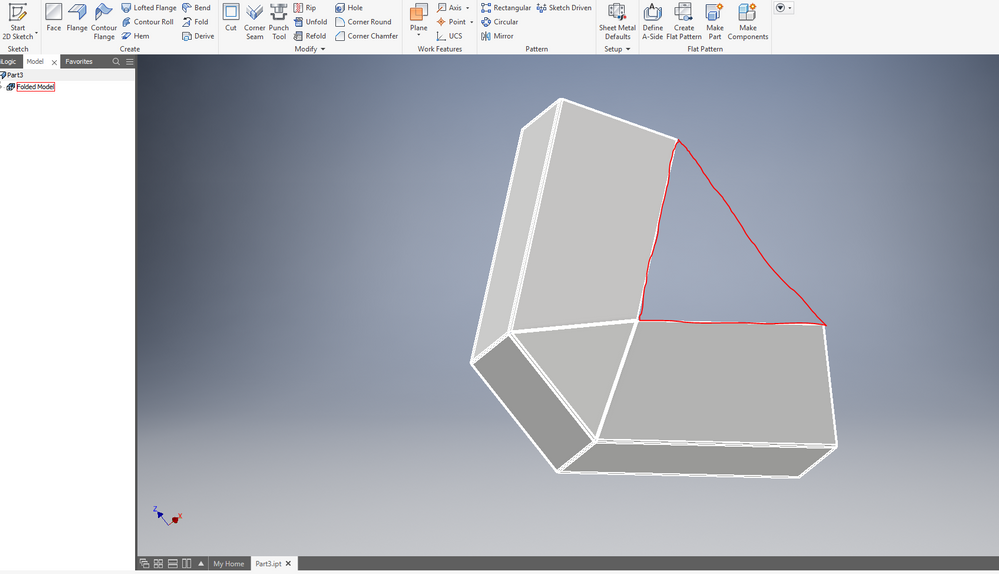 Solved Trying To Create A Triangle Top With Sheet Metal Autodesk Community Inventor