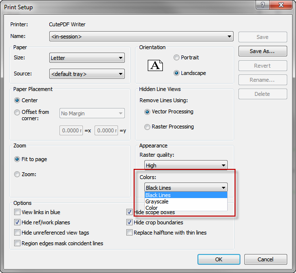 This Will Allow Element In The Project To Display Color But Print Black If You Set Setting Then When