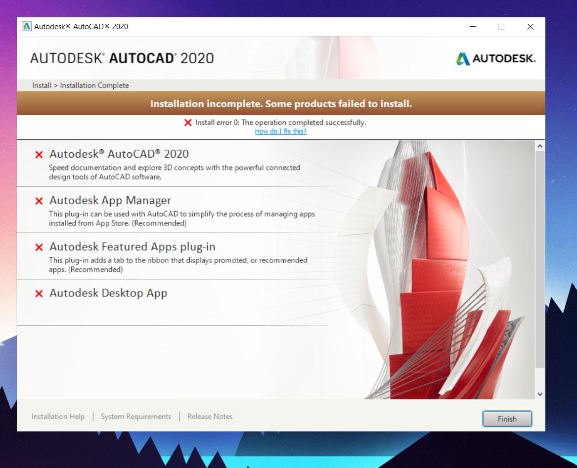 Solved  Autocad Install Error 0