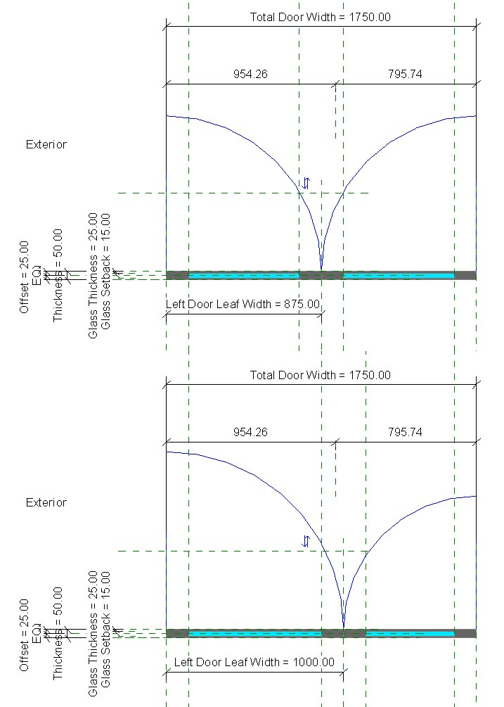 Solved Unequal Door Leafs In Curtain Wall Door Autodesk Community Revit Products