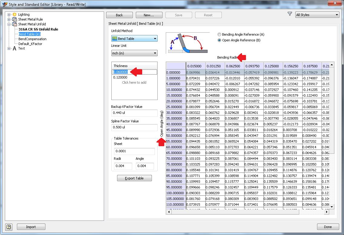 Sheet Metal Bend Radius Unfold Table Autodesk Community