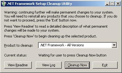 Solved:  NET Framework Cleanup Tool for Unhandled Exception