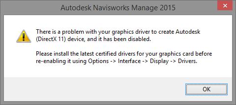 Navisworks - problem with graphics card driver - Autodesk Community