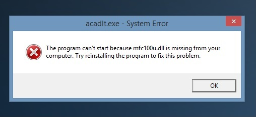 AutoCAD LT 2014 mfc100u.dll missing - Autodesk Community