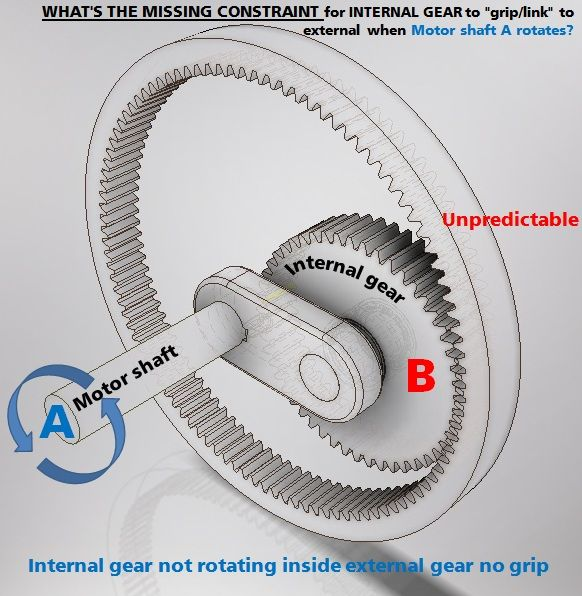 Internal spur gear not linking/rotating but sliding