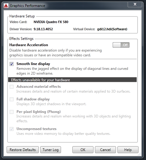 Hardware Acceleration Unavailable Issue