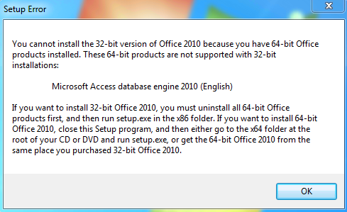 Office 2010 32 bit isn 39 t supported on 64 bit os with - Installer office 2010 sur windows 8 1 ...