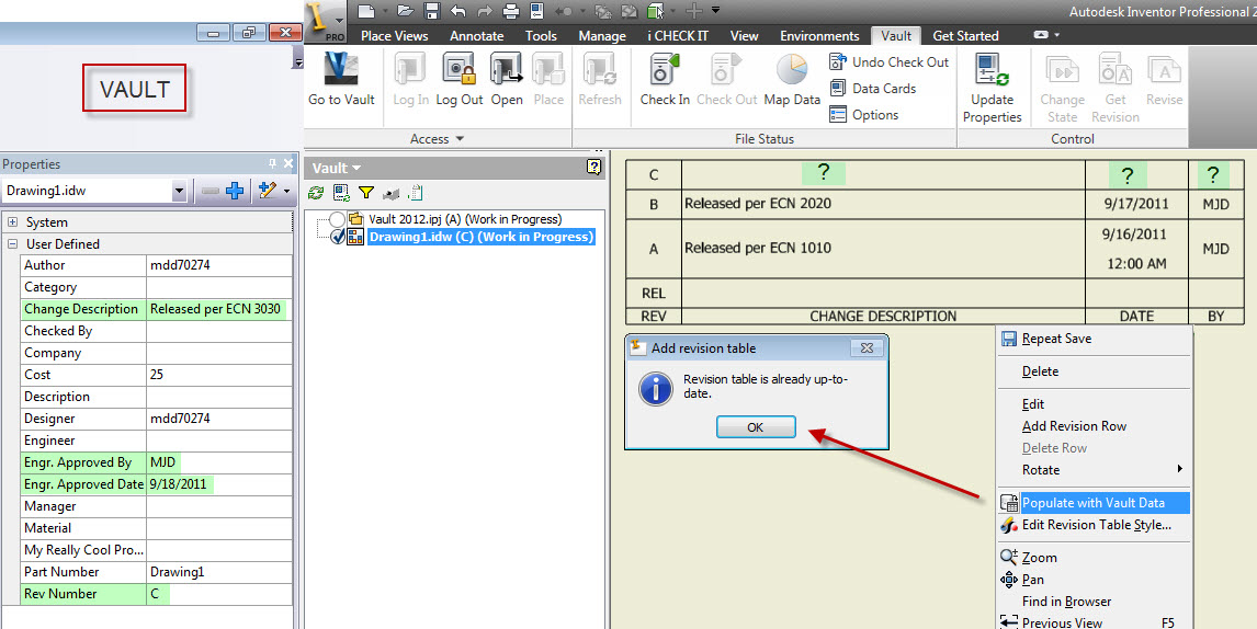 Solved: Vault 2012 Revision Table Integration - Autodesk