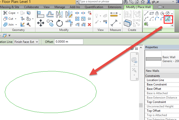Drawing Lines In Revit : Pick line walls tool on the ellipse autodesk community