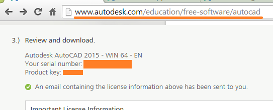 serial number and product key for autocad 2015