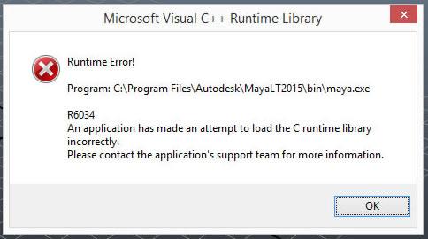 Maya/Maya LT - Microsoft Visual C++ runtime library error R6034