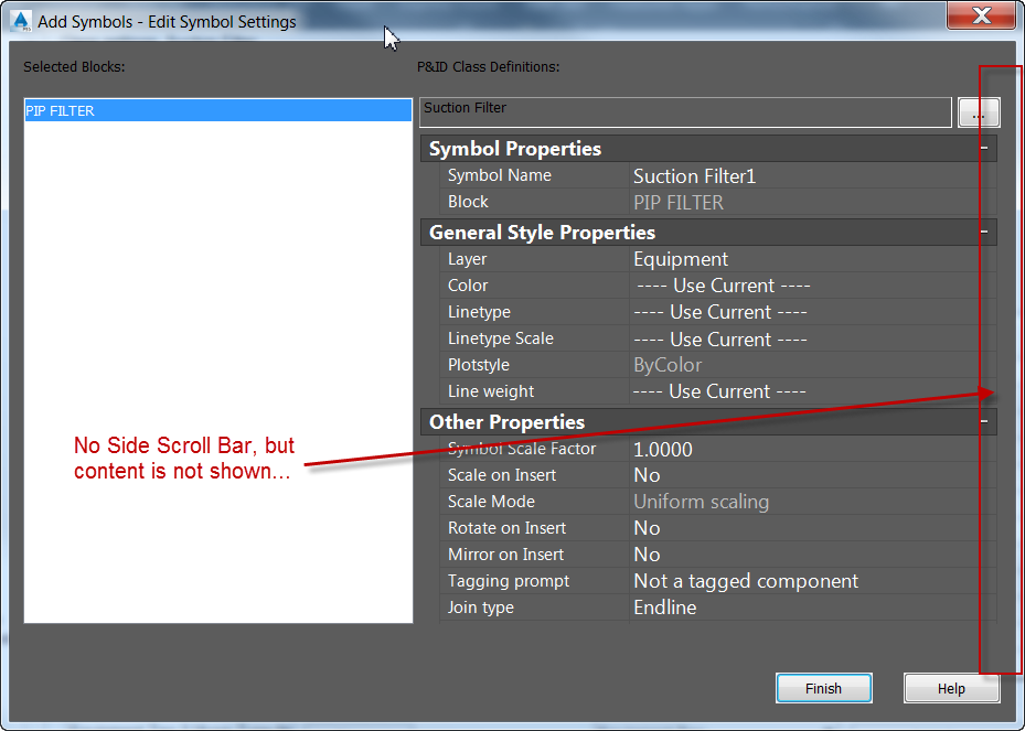 Scroll Bar Needed For Edit Symbol Settings Dialog Box Autodesk