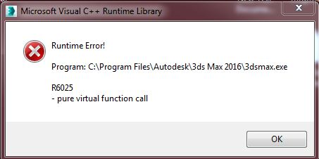3ds max 2016 Visual C++ Runtime Library Runtime Error