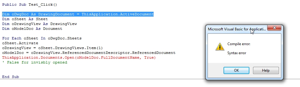 Solved: Open model from drawing [VBA] - Autodesk Community