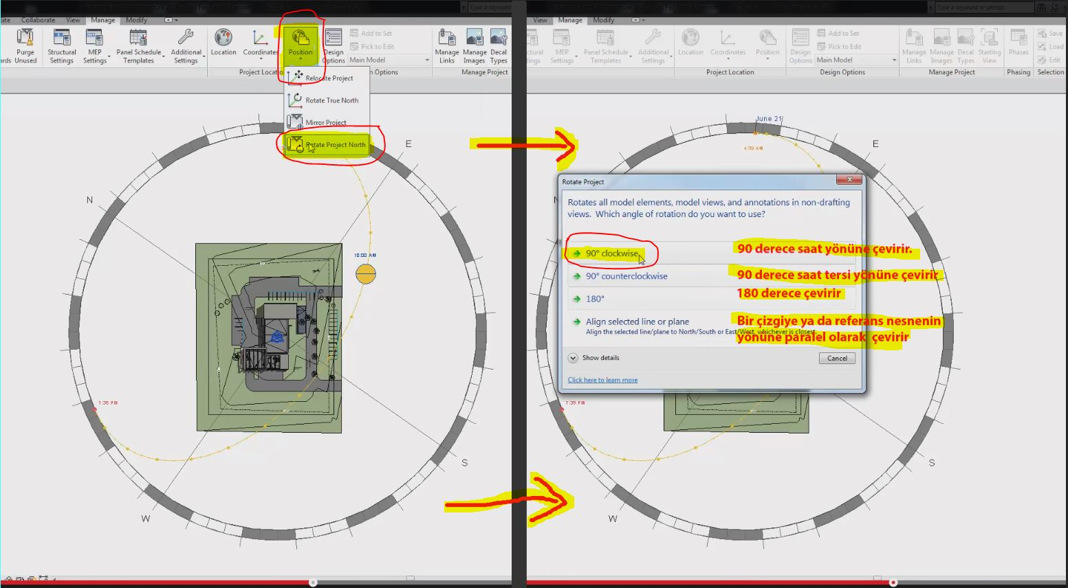how to add north arrow revit