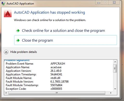 Autocad instant crash - Autodesk Community- AutoCAD