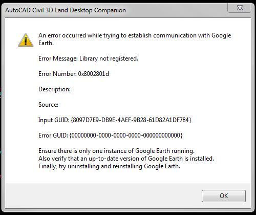 Google Earth Extension Error - Autodesk Community- AutoCAD