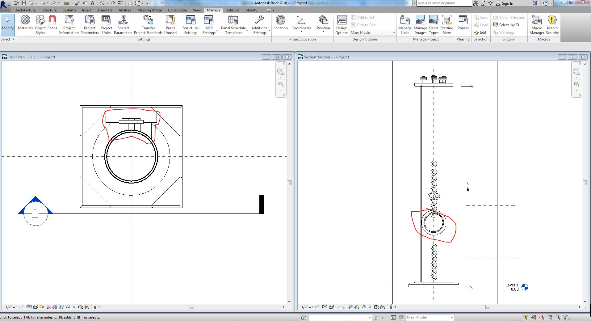 how to show awning on level above dashed in revit