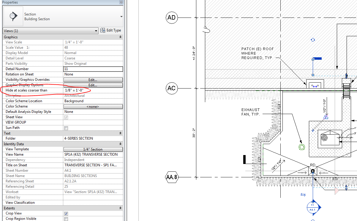 Solved: Section marks not showing in different view