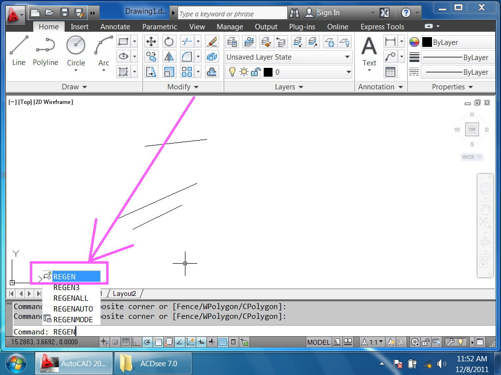 "Blue Ribbon Auto >> Where is the command ""Regenerate"" in the ribbon? - Autodesk Community"