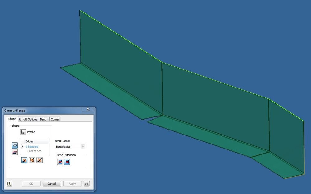 Sheet Metal Environment Creating Curved Edges Fold And