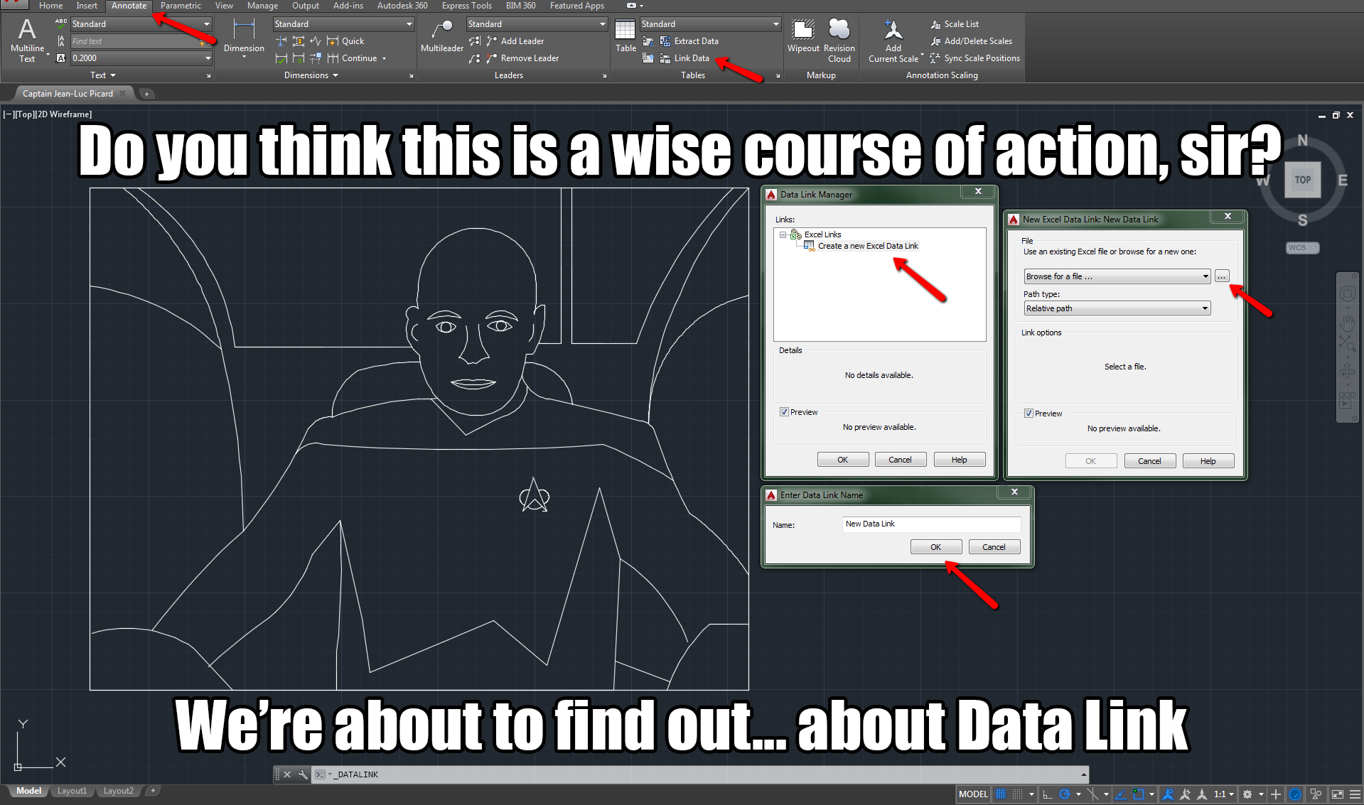 how to create link in autocad
