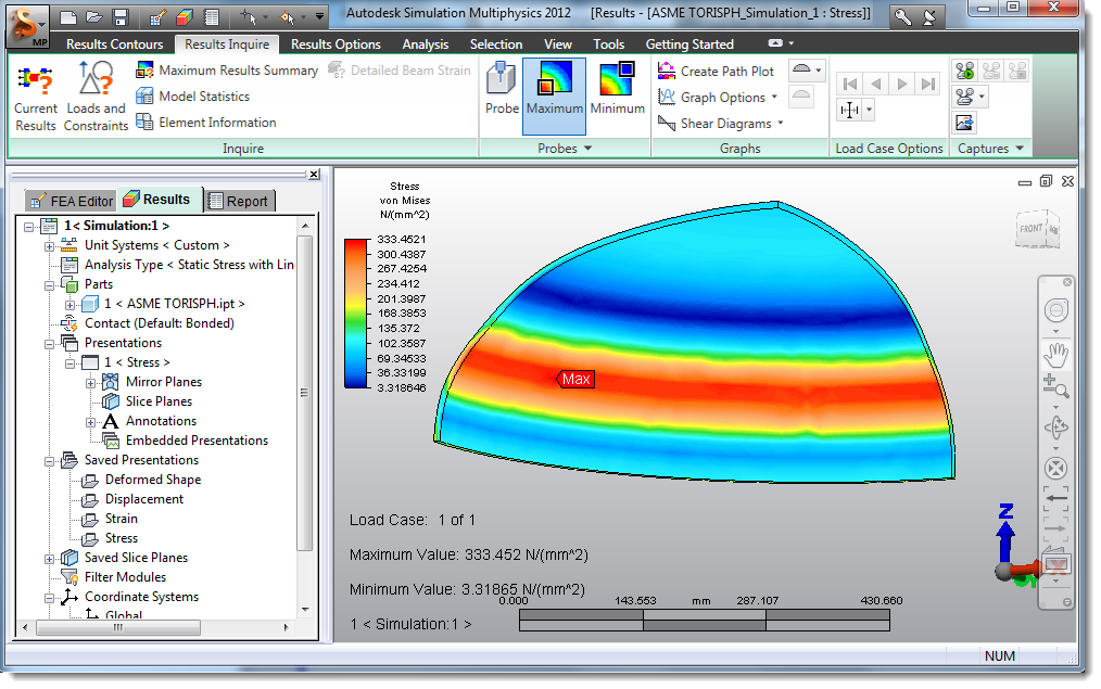 Comparing ASME and Inventor FEM, results analisys - Autodesk
