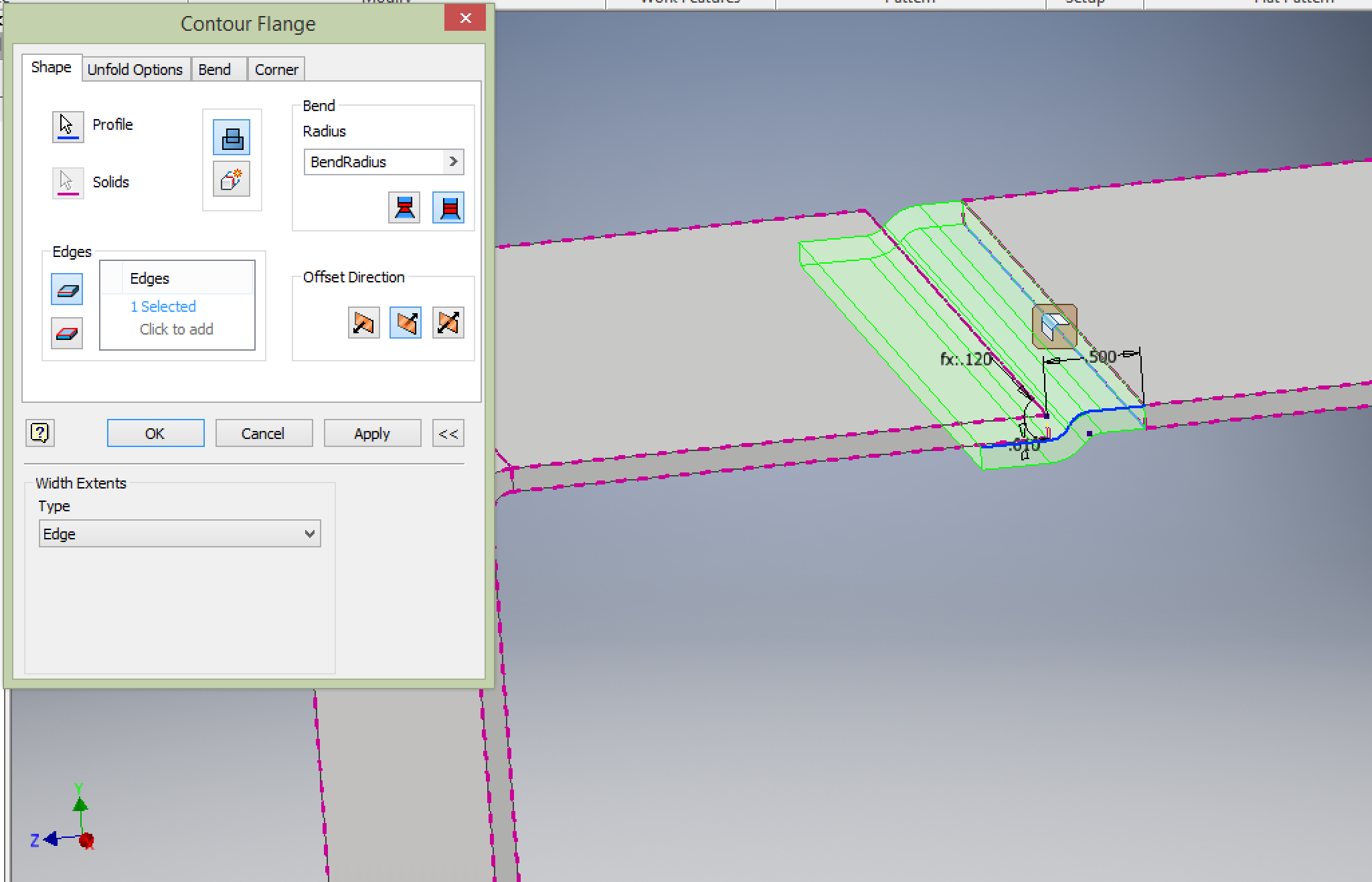 Cannot Create Standard Sheetmetal Lap Joints Using Any