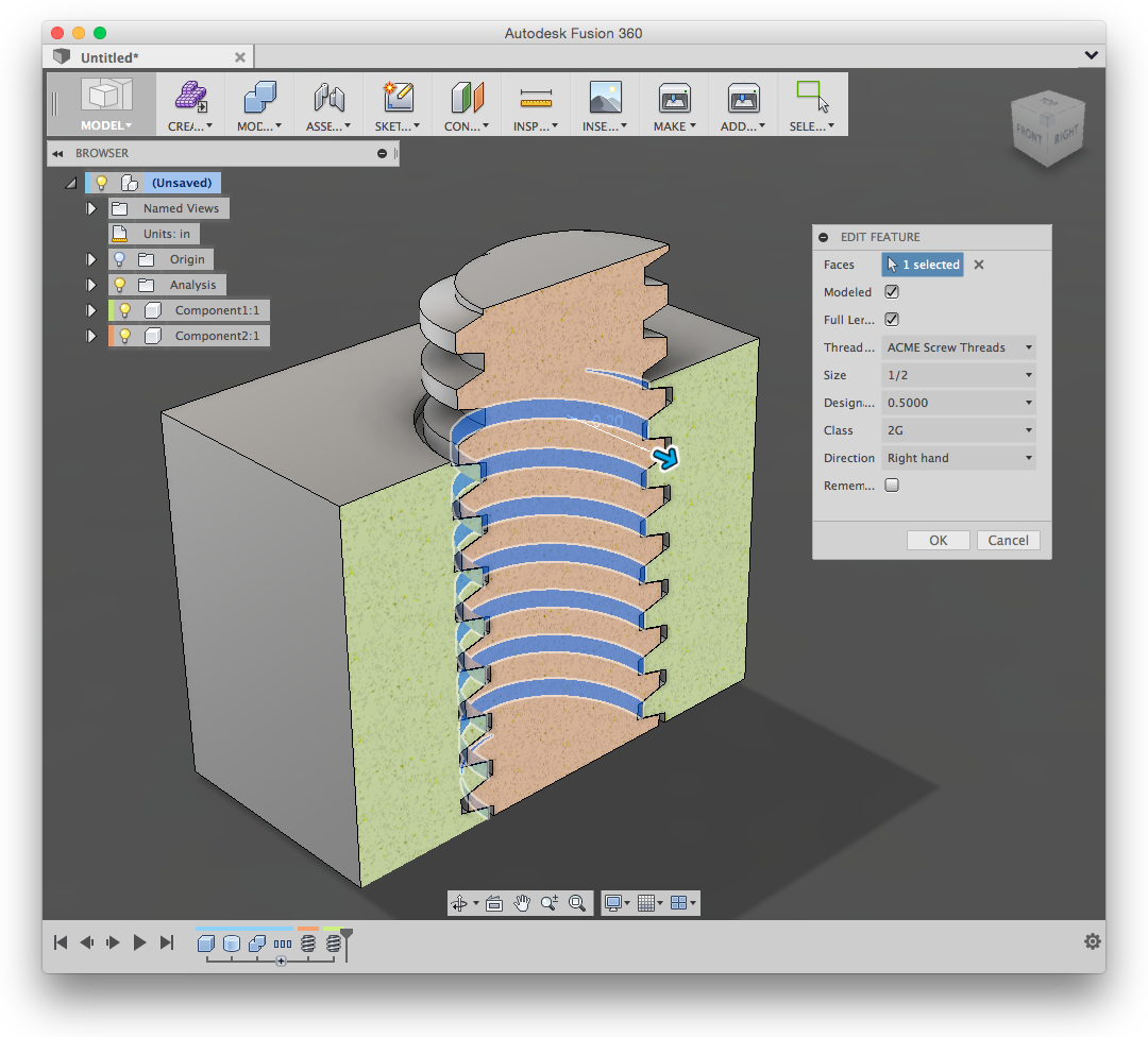 Creating threaded nuts and bolts - Autodesk Community