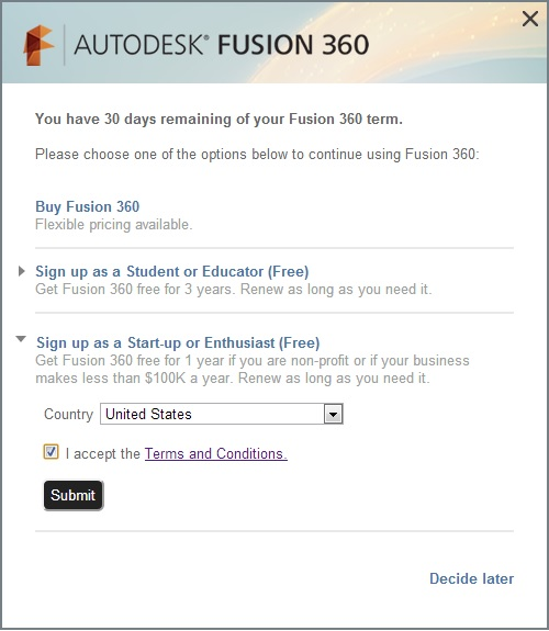 Unable to get Fusion 360 as a start up after trial period