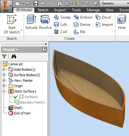 Solved: Adding Thickness to Canoe Surface - Autodesk