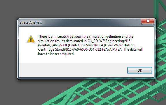 FEA mismatch between definition and results - fights with