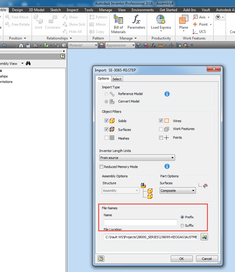 Import STEP file to include Vault numbering scheme