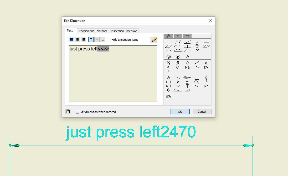 Insert diameter before dim text - Autodesk Community- Inventor