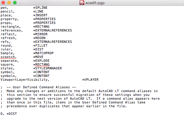 Autocad LT Mac command aliases - Autodesk Community- AutoCAD for Mac