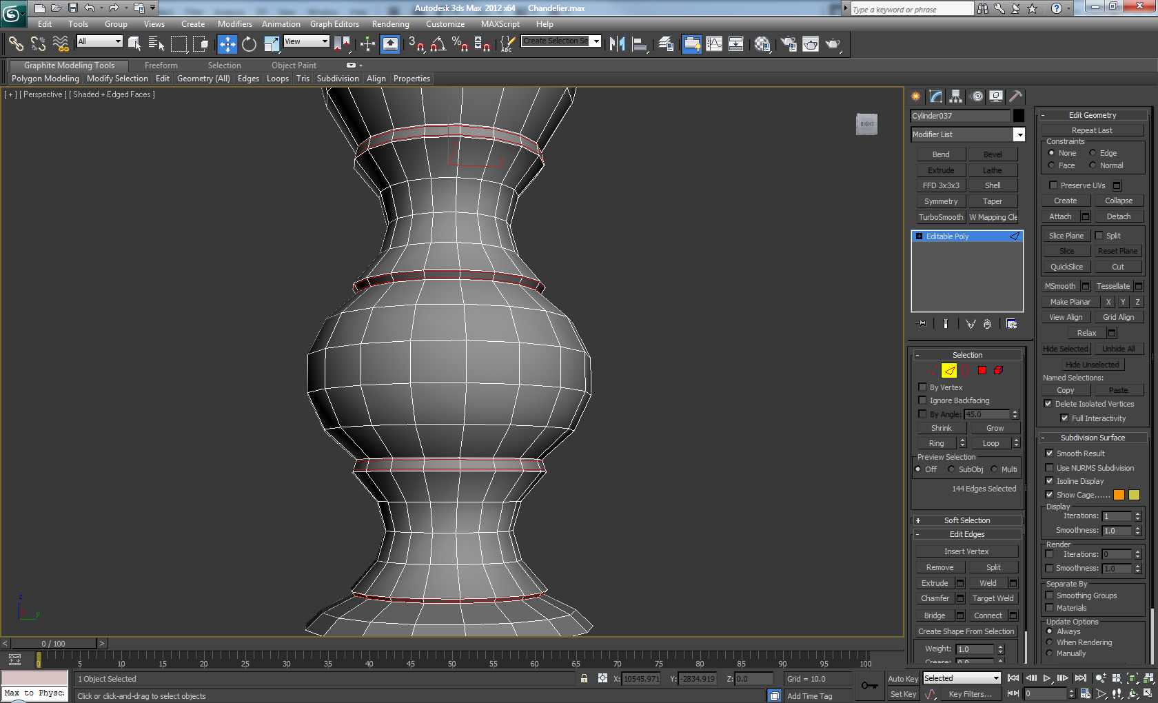 Model a decorative high poly chandelier in 3d studio max for 3d studio max