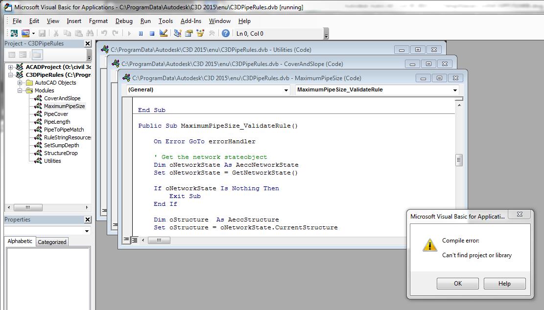 MS Visual Basic Compile Error - Autodesk Community- Civil 3D