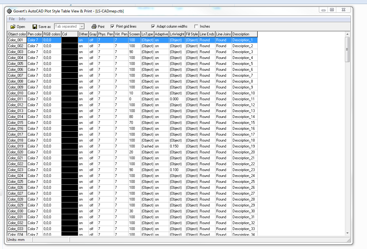 Solved Ctb Lineweight List Autodesk Community