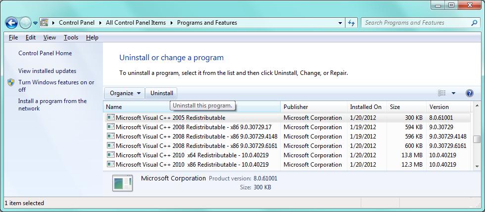 microsoft visual c++ 2010 redistributable package (x86) sp1 update