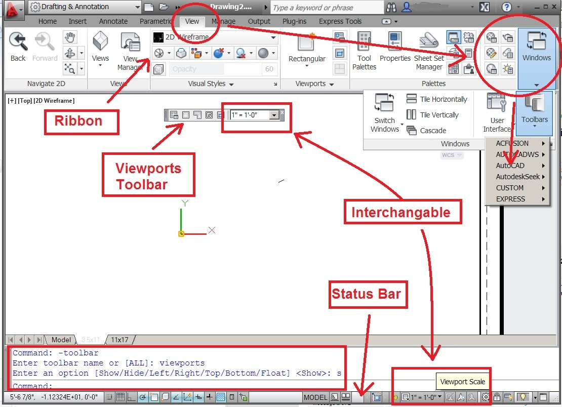 """Where is the """"Viewports"""" Toolabar in ACAD 2012? - Autodesk"""