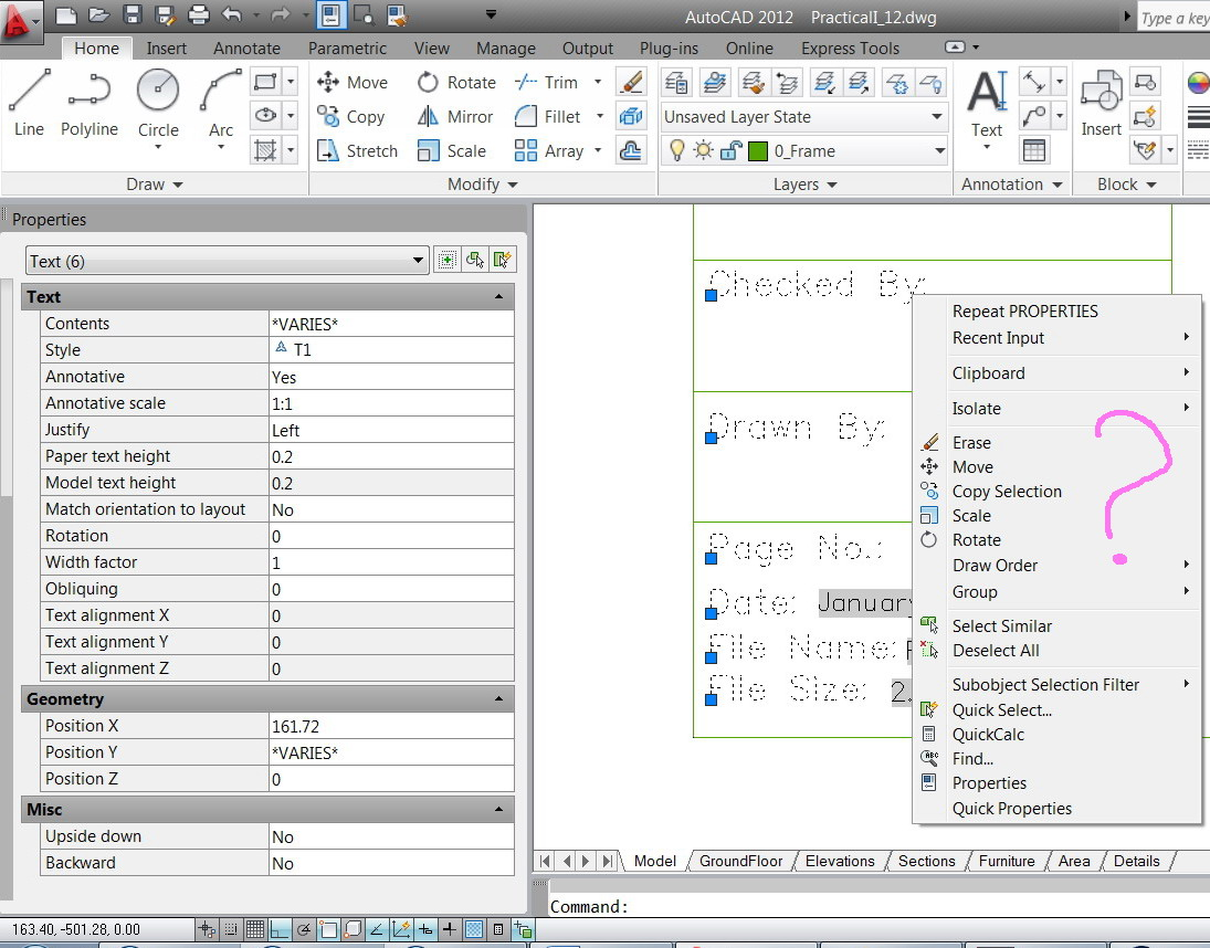 Solved: How to align texts in the AutoCAD (with no work
