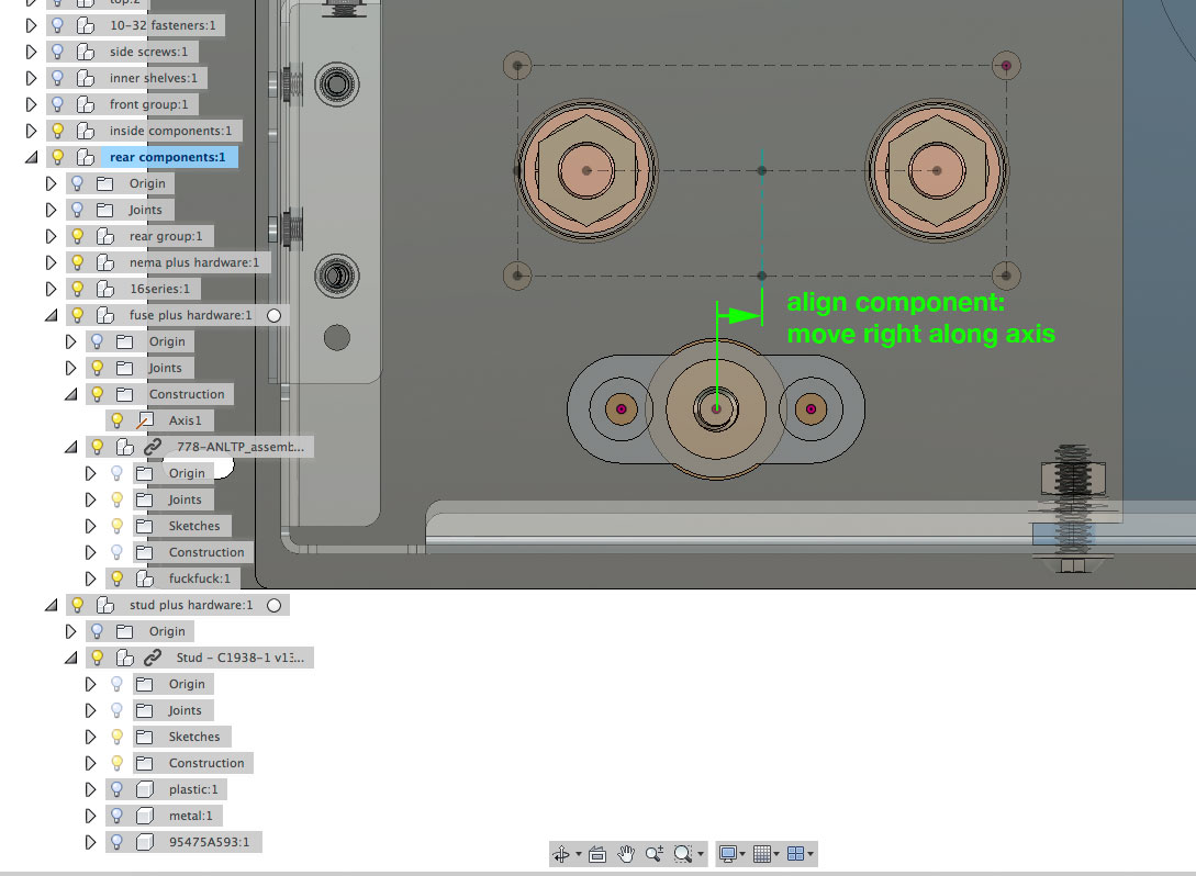 Solved: align components, constrained along an axis - Autodesk