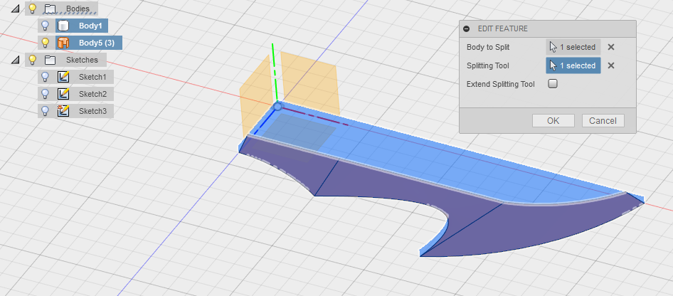 fusion 360 how to cut a bodyin half