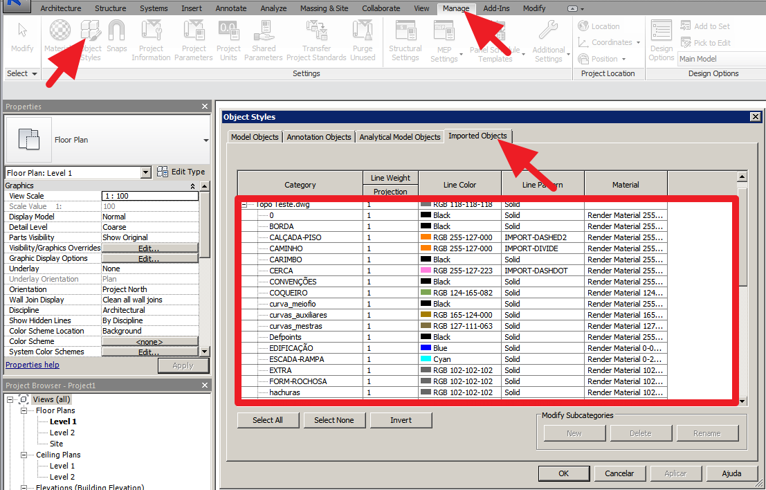 how to delete imported objects in revit