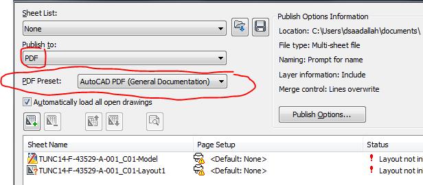 autocad publish to pdf settings