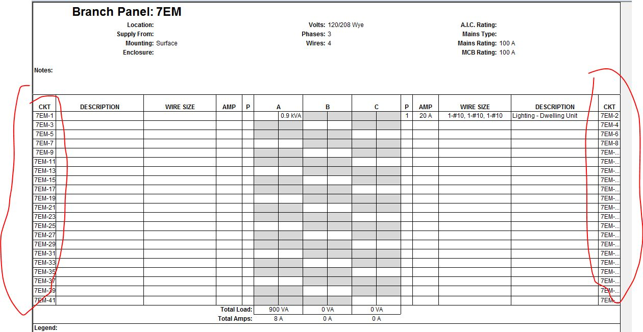 electrical panel schedule