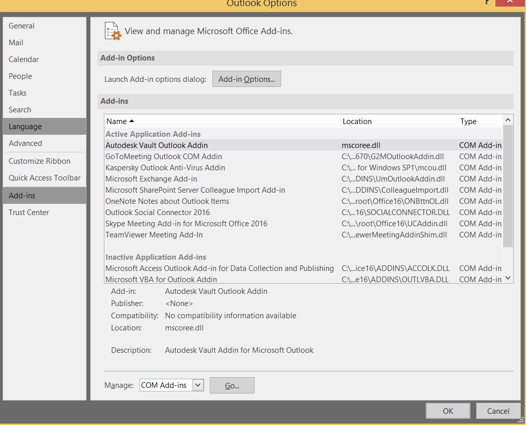 Solved: Outlook Vault Ribbon Tab not showing     Word and