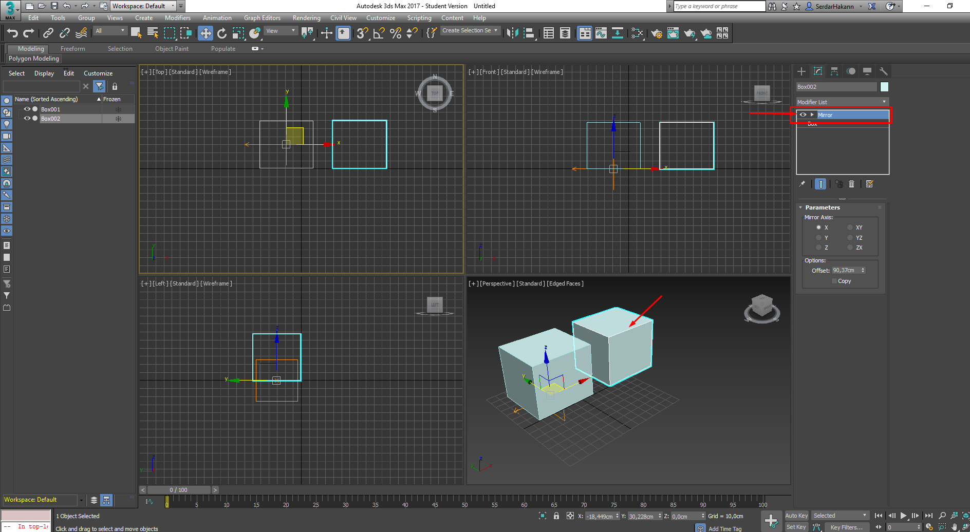 how to connect the mirror images in 3ds max